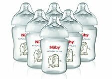 Nuby Baby Natural Touch Easy Latch On Formula Feeding Infant Bottles 6 Pk Clear