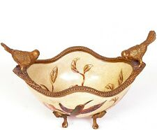 Porzellan Bronze Schale Dose Vogel Bronzefigur