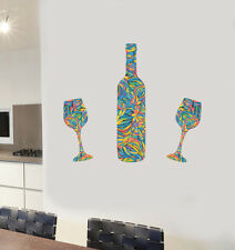 Colourful Wine Bottle and 2 Glass Design - Wall Art Vinyl Stickers Kitchen Decal