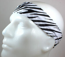"NEW 2"" Super Soft White Black Zebra Hair Band Head Sport Sweat Headband Stretchy"