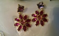 New By Avon Pierced Earrings Romilly Statement Earrings Drop Dangle Pink Flower