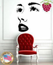 Wall Stickers Vinyl Decal Hot Sexy Girl Face Full Lips Big Eye Lashes EM575