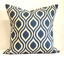 Blue Ivory Pillows 18 x 18 Modern Cotton Fabric Geometric Home Decorating Fabric