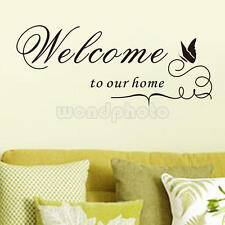 "Pegatina de Pared Vinilo Decorativo ""Welcome To Our Home"" Mariposa Decoración"