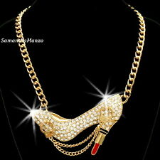 BIG Pave Set Crystal Cz HANDCUFFS Lipstick High Heel Pendant Link Chain Necklace
