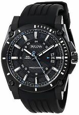 Bulova 98B142 Men's Precisionist Black IP Black Dial Rubber Band 300M Watch