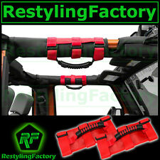 77-16 Jeep Wrangler JK TJ YJ CJ Deluxe Extreme RED Roll Bar Grab Handle Pair