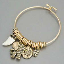 Gold Elephant Horn Lucky Clover Statement Charm Indie Bohemian Style Bracelet