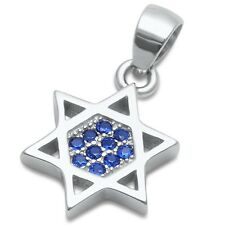 Blue Sapphire Star of David .925 Sterling Silver Pendant