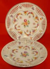 Pair of Pierced Edge Porcelain Plates with Floral Swag Pattern