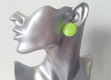 Big plain neon green flat plastic CLIP ON button style stud earrings retro  1""