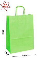 10 x Lime Green Paper Party Gift Bags ~ Boutique Shop Loot Carrier Bag - SIZE A4