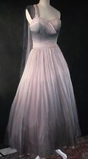 Vintage PETER MANN silk chiffon ombre dress 50's 1950's pink grey wedding prom