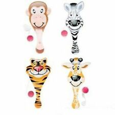 "6 ZOO PADDLE BALLS  Jungle Animals Party Favor 9"" #AA85 Free Shipping"