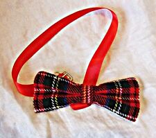 VINTAGE NEAT RED PLAID SCOTTISH TARTAN  BOW TIE SMART DAY OR EVENING NEWYEARSEVE