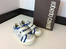 Roberto Cavalli Shoes, Eu 21, Uk 5 Infants, Blue White Leather, Good Condition