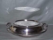"""Oval Silver Plated Covered Entree Dish EPNS 11"""" x 8"""" (Makers Mark TW)"""