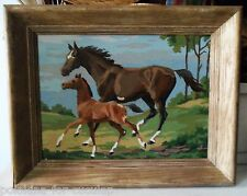 Vintage Framed HORSES Mare and Foal PAINT BY NUMBER Painting, Large Wooden Frame