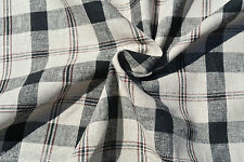 D176 COTTON LINEN,BLEND RUSTIC BLACK & FAWN PLAID CHECK YARN DYE MADE IN ITALY