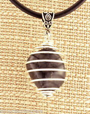 SHUNGITE Cage Pendant Energy Necklace A069 Rubber Cord Purifies Energy Cleanser