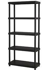 Plastic Shelving Unit 5 Tier Garage Home Organizer Heavy Duty Storage Shelf  Rack