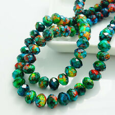 40pcs Rondelle Faceted Crystal Glass Loose Spacer Beads DIY 8mm HB793