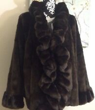 DENNIS BASSO LUXURY BROWN FAUX FUR RUFFLE FRONT JACKET COAT ~ SMALL ~ 12 ~ BNWOT