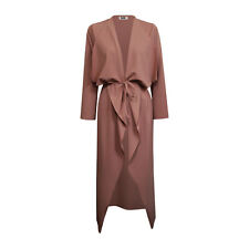 Womens Ladies Maxi Long Sleeve Waterfall Belted Duster Coat/ Jacket