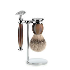 Muhle SOPHIST Real Horn Safety Razor & Silvertip Badger Hair Shaving Brush Set