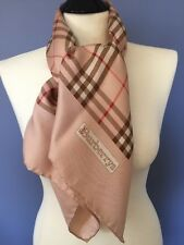 Vintage auth BURBERRYS Burberry Pink Silk Scarf Nova Check Large 34""