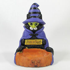 "The Stone Bunny CAT IN WITCH COSTUME 8"" Figurine Candy Dish Halloween Stein 2005"