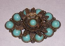 """Large Vintage Brooch Pin - Brass w/ Faux Turquoise Stones - 2-7/8""""  #P374"""