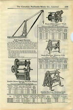 1920 ADVERTISEMENT Sasgen Drum Geared Double Purchase Winch Derrick Wood Blocks