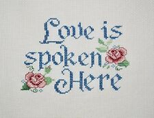 COMPLETED FINISHED CROSS STITCH, LOVE IS SPOKEN HERE