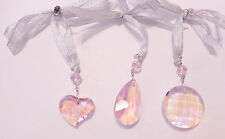 NEW KIRKS FOLLY FAIRY SHIMMER CRYSTAL ORNAMENT SET OF 3  SILVERTONE/PINK AB