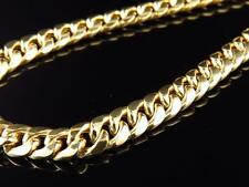 Mens Solid Yellow Gold Miami Cuban Curb Link Chain 11 mm 30 Inches