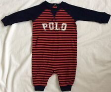 New Baby Boys Ralph Lauren Long Sleeves  Graphic  Coverall Body Suit/Romper 3M