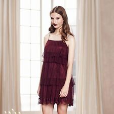 LC Lauren Conrad Runway Collection Women's Wine Tiered Shift Dress Small - NWT