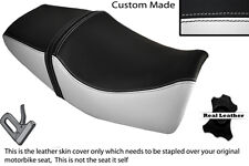 BLACK & WHITE CUSTOM FITS YAMAHA XJR 400 DUAL LEATHER SEAT COVER ONLY