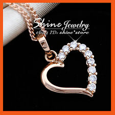 9K ROSE GOLD GF P141 LOVE HEART WEDDING SIMULATED DIAMOND SOLID NECKLACE PENDANT