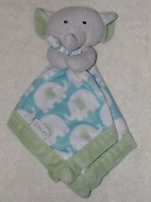 Carters Elephant Baby Security Blanket Blue Green Lovey
