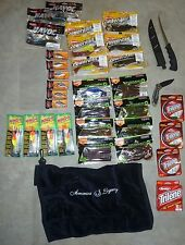 Fishing Lot of Rapala Lures, Plastic Baits, Trilene Line, Filet Knife