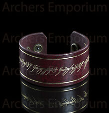 One Ring Inscription Red Leather Cuff / Arm Band. LotR, Hobbit. Exquisite, Weta.