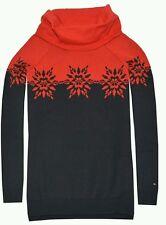 Tommy Hilfiger Women MEDIUM Snow Flake Sweater Red/Navy