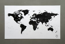 Black and White World Map Poster Version 2 Simple is the Best