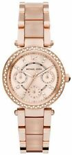 NEW MICHAEL KORS MK6110 LADIES ROSE MINI PARKER BLUSH WATCH 2 YEAR WARRANTY