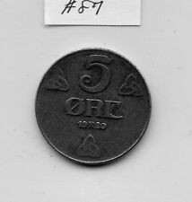 1920 Norway Iron 5 Ore (#87) Xf. Check out the Photos.