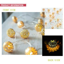 Moroccan Romantic 20LED Golden Metal Ball String Light Lamp Xmas Valentine' gift