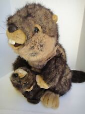 "Large Stuffed Animal Plush Big Brown Beaver & Baby Realistic Prop 18"" Kirkland"
