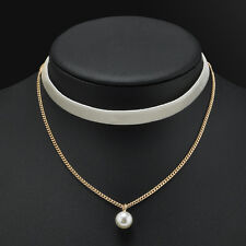 double layer Velvet Chain Pearl Pendant Choker Collar Necklace Gothic Jewelry